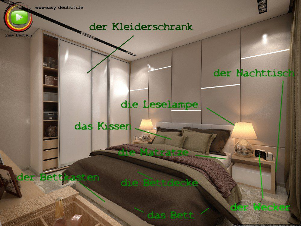 vokabeln das schlafzimmer easydeutsch. Black Bedroom Furniture Sets. Home Design Ideas