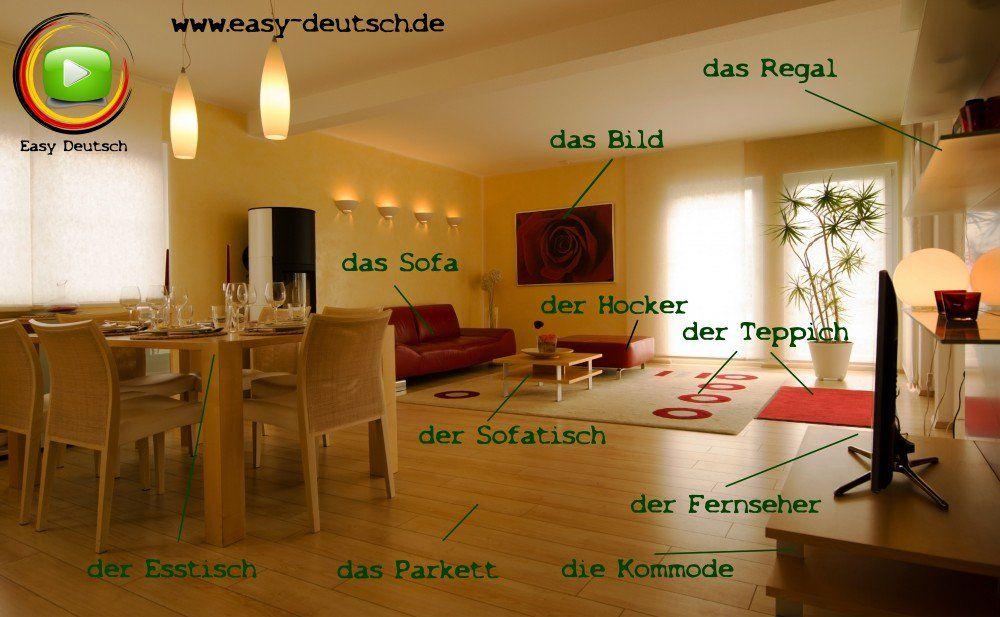 Deutsch lernen Vokabeln Wohnzimmer