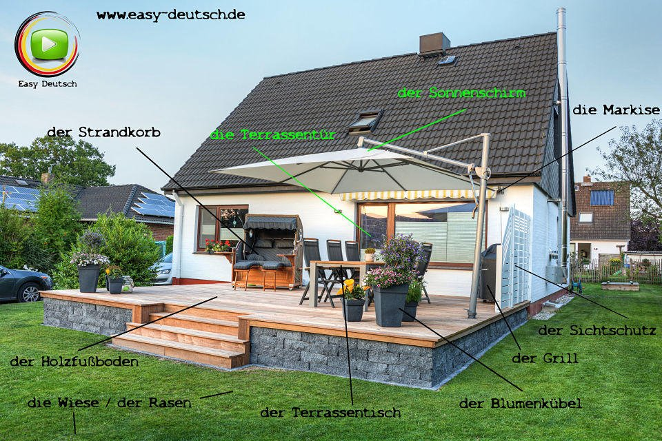 vokabeln die terrasse easydeutsch. Black Bedroom Furniture Sets. Home Design Ideas