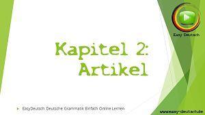 Deutsche Grammatik Artikel