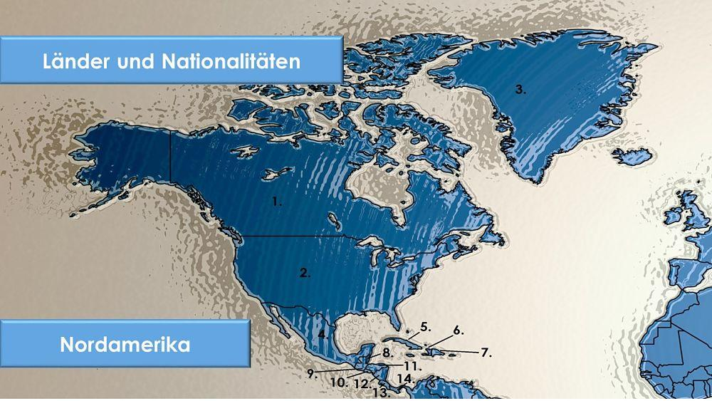 Länder uns Bewohner Nordamerika auf Deutsch