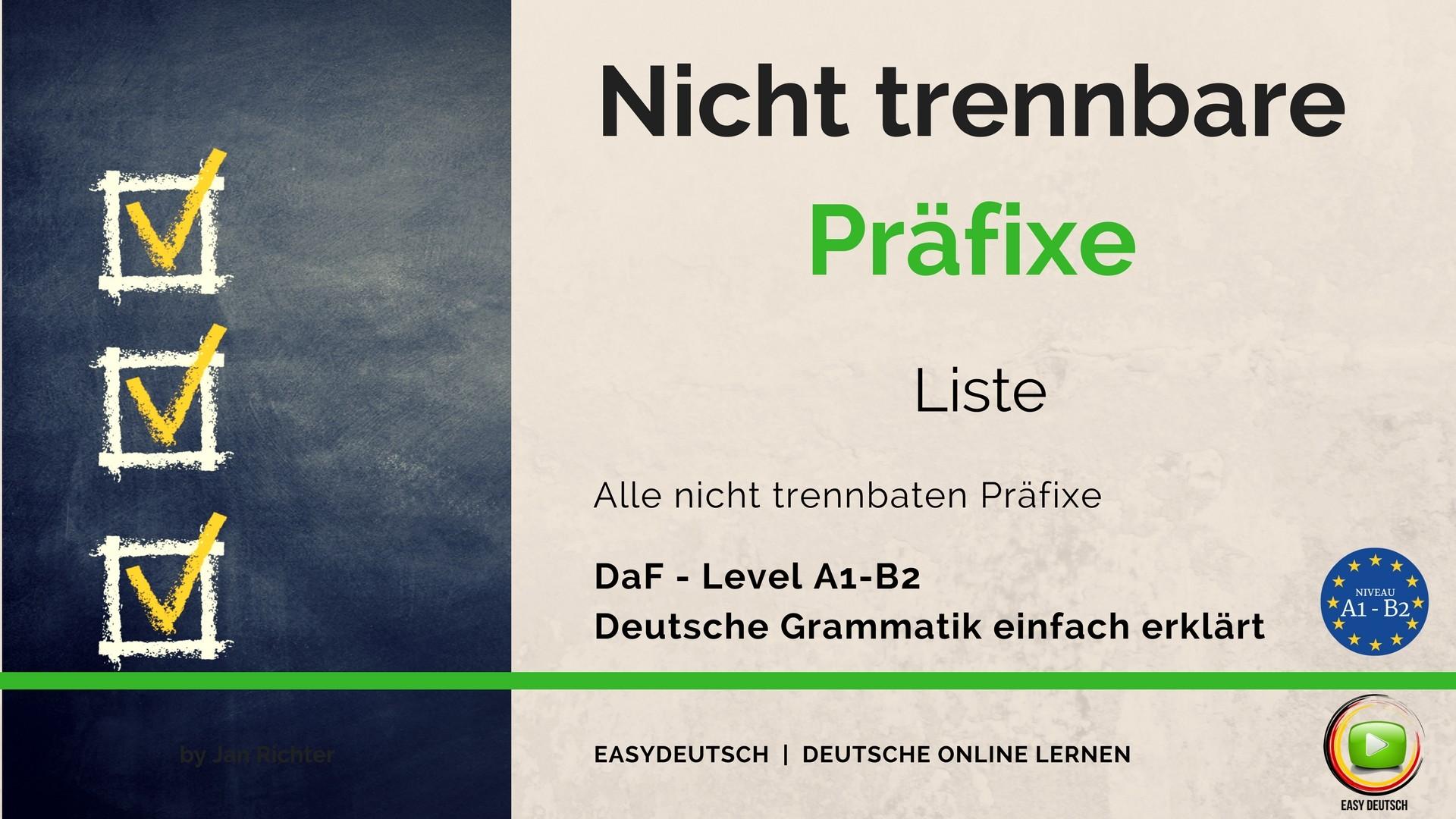 Verben mit Präfix Archive | EasyDeutsch