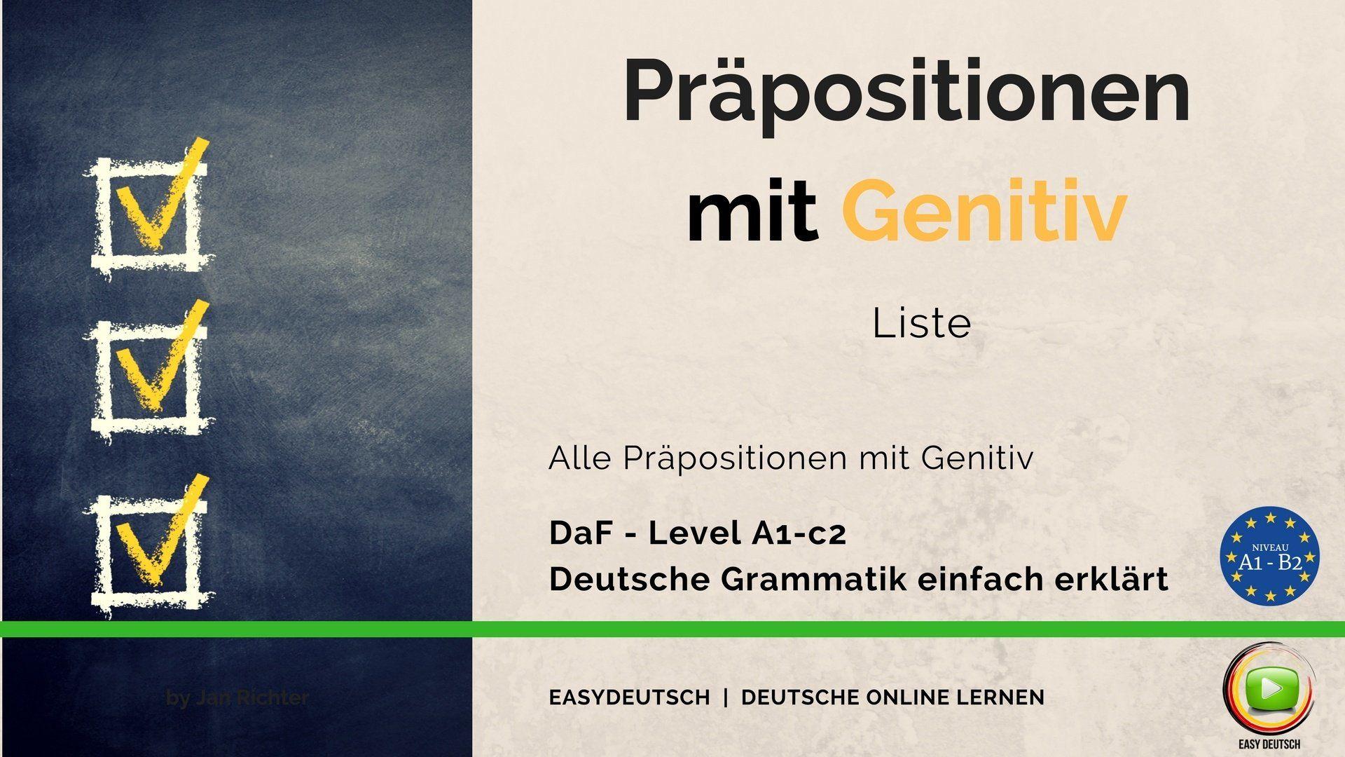 Pr positionen mit genitiv grammatik unkompliziert erkl rt for Wegen dativ oder genitiv