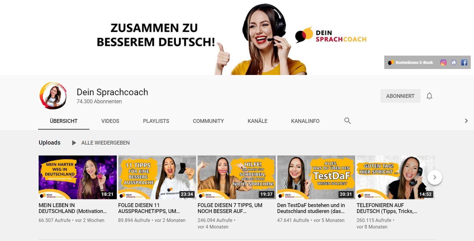 Youtube Deutsch Lernen Maria dein Sprachcoach