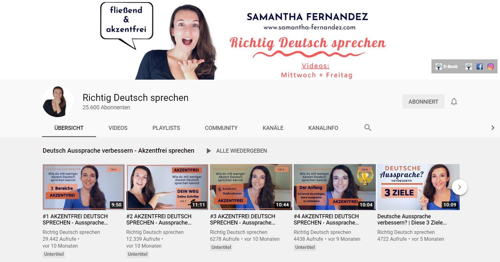 Youtube Deutsch lernen Richtig Deutsch sprechen
