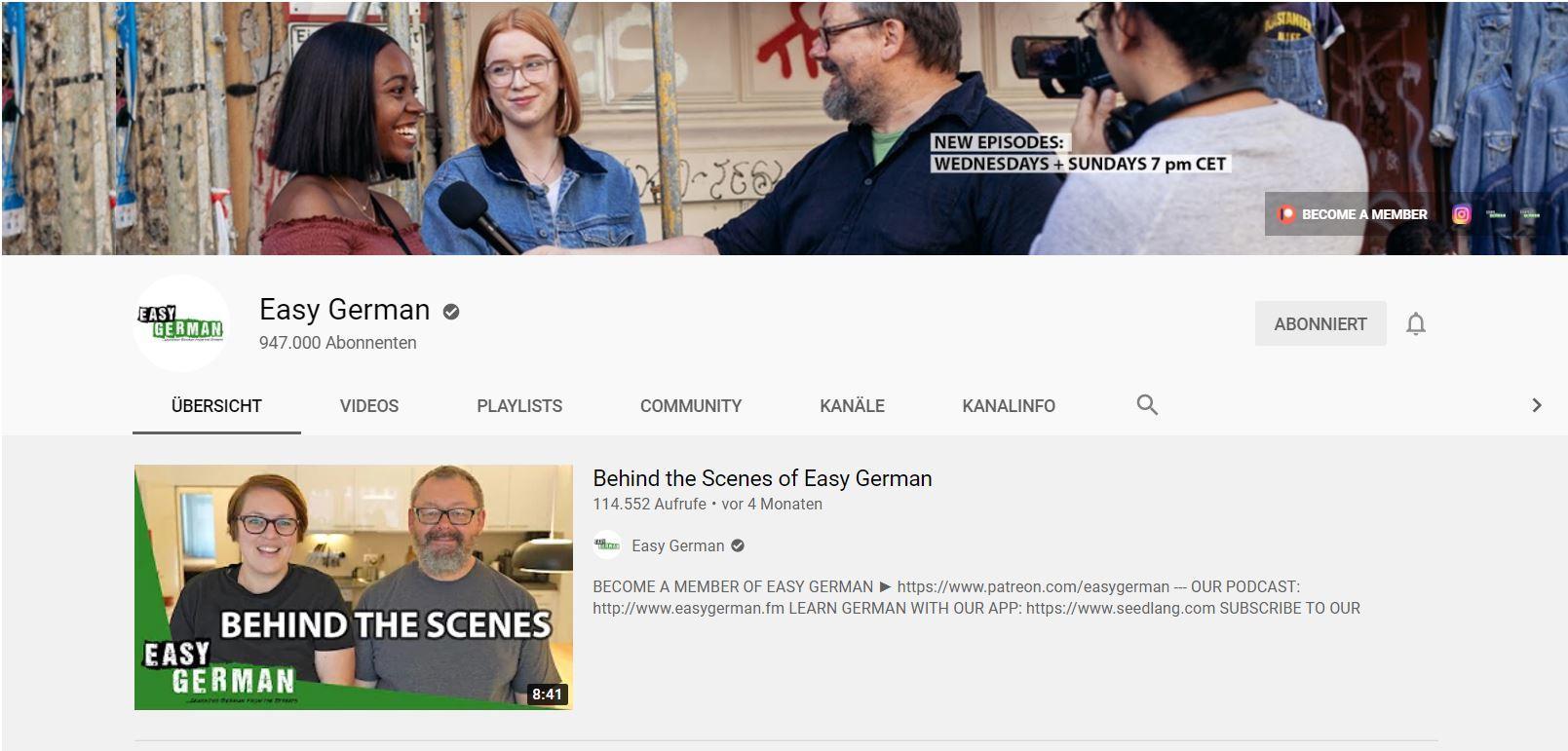 Youtube EasyGerman Deutsch lernen