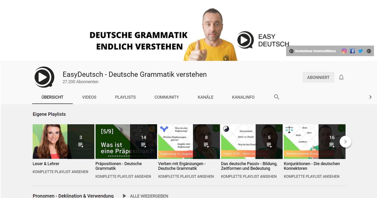 Mit Youtube Deutsch lernen EasyDeutsch