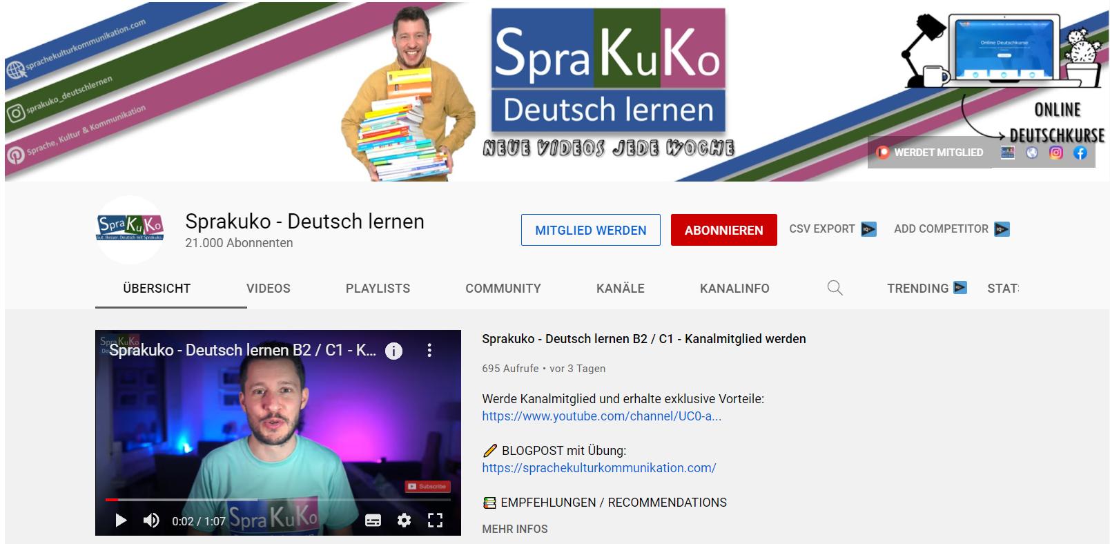 Mit Youtube Deutsch lernen  - Sprakuko